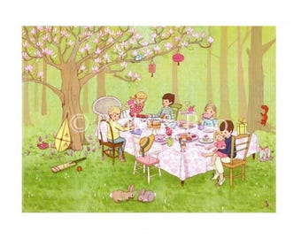 Ava's Tea party Art print, girls bedroom art