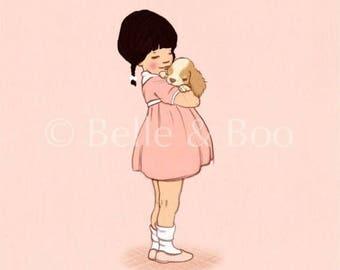 Puppy Love art print, girl and puppy art, vintage style children's illustration