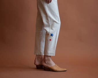 BILL BLASS 80s camel high waist jeans / high rise tapered denim / embroidered jeans / US 12 / 29 W / 2252t / B10