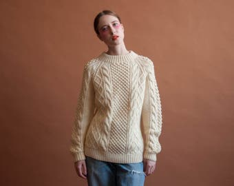 70s cable knit bobble crew neck sweater / cream wool sweater / oversized sweater / s / m / 2280t / B21