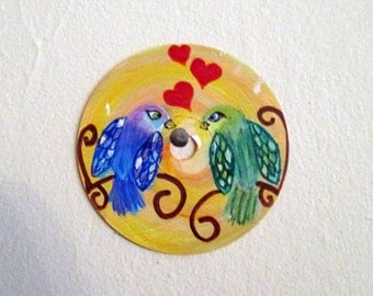Tropical Love Birds painting - art on recycled CD, parrots, animal wall art, kids room decor, children's nursery, valentines day gift