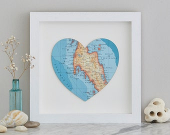 Thailand Map heart Print - framed