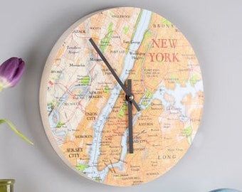 Map Location Round Clock - wall clock - modern wall clock - unique clock - wall clock decor - world map - map clock - gift for him