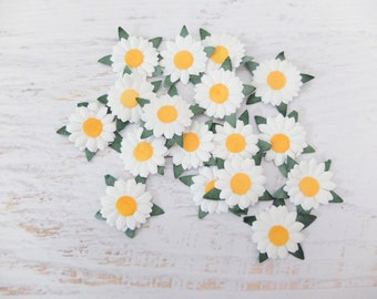 White paper daisies die cuts - 50 1 inch paper daisies embellishment (2 layers)