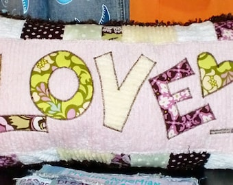 Decorative Name Pillow, Boho Nursery Ideas, Personalized Chenille Bedroom Throw, Slumber Party, Shower Gift from Grandma, for Birthday Girls