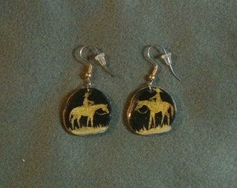 Antler Cowboy Gold/Black Earrings-Hand Painted, Hand Made