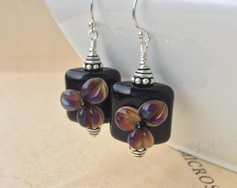 Midnight flower Lampwork earrings in sterling silver