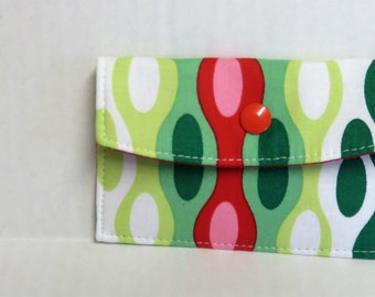 Mini Wallet - Gift Card Holder - Debit Credit Card Case -  Business Card Case  - Snap Closure - Christmas Wavy Fabric