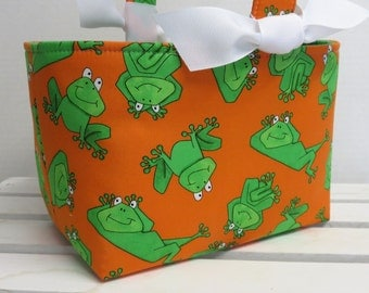 Easter Fabric Candy Bucket Egg Hunt Basket Storage Bin Container - Silly Green Frogs on Orange Fabric