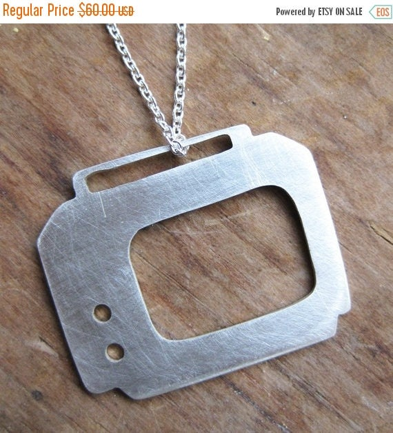 SALE PORTABLE TV sterling silver television silhouette necklace