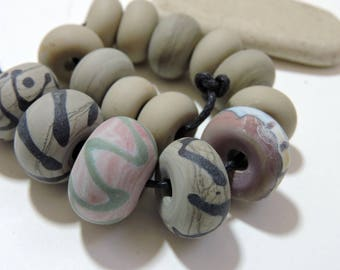 Lampwork Beads Taupe NATURALS Two Sisters Designs 041917B