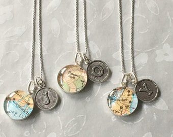 Mother's Day Initial Map Necklace  Monogram Personalized Sterling Silver Petite Pendant and Chain for your Bridesmaids