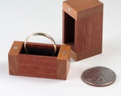 Recycled Walnut Mahogany Cherry Wood Ring Box, Surprise Ring Box