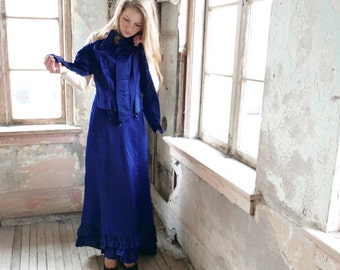 Victorian Sapphire Blue Satin Dress Bodice and Trained Skirt XXS