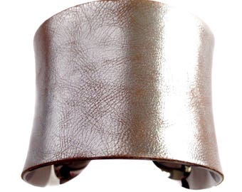 Antiqued Metallic Silver Leather Cuff Bracelet  - by UNEARTHED