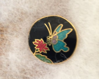Magnetic Brooch, Cloisonne butterfly and flower