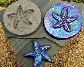 36mm round Starfish or sea star MOLD - Make pendants, buttons, cabochons - Polymer Clay