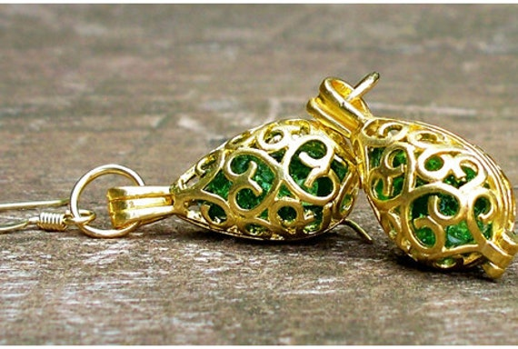 Recycled  Vintage Beer Bottle Emerald and Gold Earrings