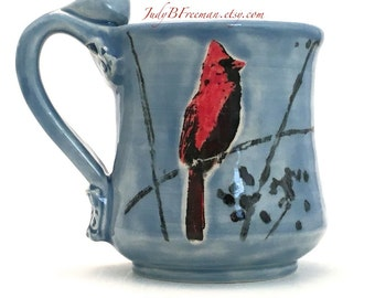 Ceramic Mug Cardinal Bird Handmade Handpainted On Sky Blue 12 Ounces MG001 Made to Order Teacup Coffee Cup