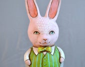Roly Poly Pink Bunny Rabbit Original Hand Painted Folk Art Doll Paper Mache Sculpture OOAK