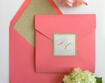Romantic Coral and Gold Glitter Classic Inspired Square Pocket Wedding Invitation