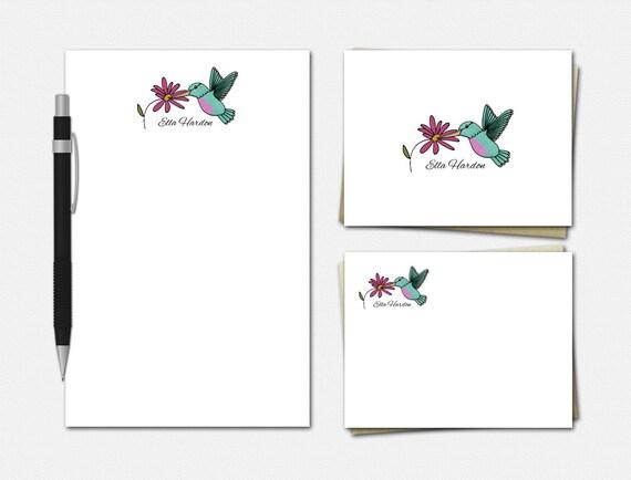 Hummingbird Stationery Set, Personalised Stationary, Hummingbird Notepad, Hummingbird Note Cards, Stationery, Personalized Stationery Set