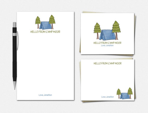 Personalized Camp Stationery for Boys