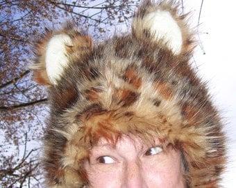 Furry Leopard Hat Brown Spotted Faux Fur Spots Furries Kitty Cat Costume Wig Lynx Ocelot Big Cat Hat Christmas Gift Hat Adult Ear Hat