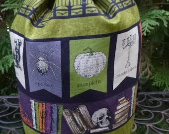 Witch knitting project bag, WIP bag, drawstring bag, Witches Bookshelf, Suebee