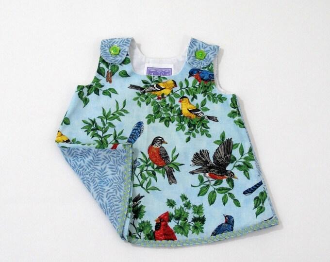Bird Watching Dress, Newborn Dress, Baby Dress, Girls Dress, Blue Dress w/ Robins & Cardinals, Take Home Outfit, Baby Shower Gift, Newborn