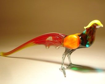 Handmade  Blown Glass Figurine Art Green and Red Bird PHEASANT Figurine