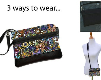 Cell Phone Purse - Fanny Pack or Wristlet - Cell phone Cross body Bag - Small Cross body Purse - Long Zip Bag- Happy Fabric