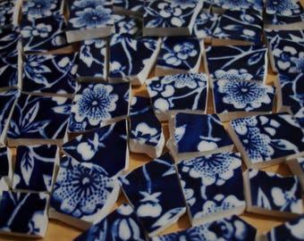Calico- Mosaic Tile Pieces - Calico Flowers- Dark Blue Flowers-Blue White Centers-Tesserae Tile Pieces