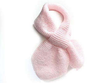 Kids Pink Pull Thru Hand Knit Scarf. Toddler Keyhole Scarf Muffler 2 to 4 Years. Child's Ascot Neckwarmer. Winter Neck Wrap. Bow Tie Scarf