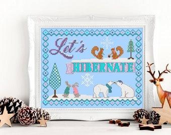 Modern Cross Stitch Pattern Let's Hibernate Winter Craft Embroidery Pattern Embroidery DIY Polar Bear Bunny