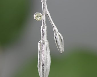 Sterling Silver Double Lily Bud Necklace with Lemon Citrine - Mother and Child Necklace - Mothers Twig Flower Pendant - Made to Order