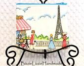 Retro Paris Medium Zipper Pouch, Chic Parisville Fabric Zip Created with Michael Miller Fabric, Eiffel Tower Pouch, Paris Cafe Pouch Wallet