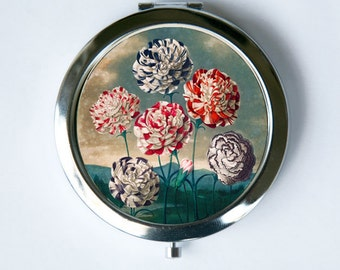 Carnations Flower Compact Mirror Pocket Mirror