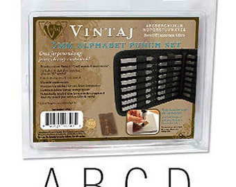SALE- Vintaj 3mm UPPERCASE Alphabet Letter Punch Stamp Set Metal Stamping