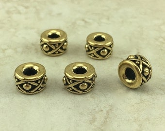 5 Legend 8mm Large Hole Spacer Beads > XO Bali Style Western Cowboy - 22kt Gold Plated Lead Free Pewter I ship Internationally 5687