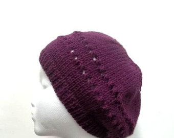 Knitted beanie purple with eyelets, hand knitted -    4712