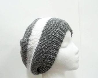 Gray and white stripes beanie hat handmade  5242