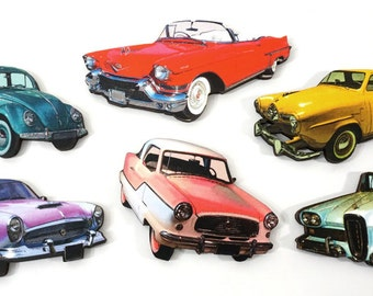 Classic Car Collection - 6 wood pieces of Vintage Automobiles
