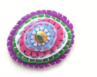 felt pin, circles pin, embroidered brooch, felt embroidery, felt accessories, embroidered pin, colorful pin, lapel pin, scarf pin,  colorful