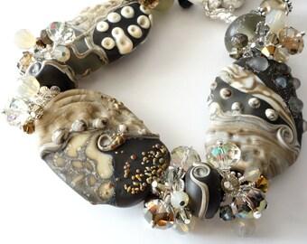 Lampwork Bracelet and Earrings, Earthy, Organic, Two Piece Set, Black, Caramel, Sand, Gray, Large Chunky Beads, Silver Beaded Jewelry, OOAK