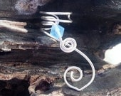 ON SALE Birthstone Ear Cuff Aquamarine Frost Crystal  No Piercing Single or Pair Ear Jacket Climber