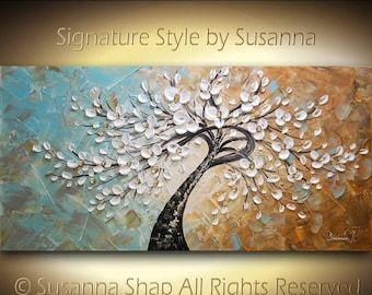 ORIGINAL Large Textured Abstract White Cherry Blossom Twisted Tree Painting with a twist Landscape Palette Knife art by Susanna 48x24