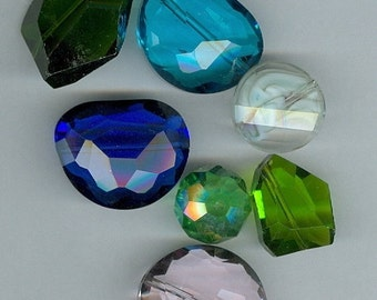 CLEARANCE Bag O Blue, Green and white Glass Crystal Beads 306B