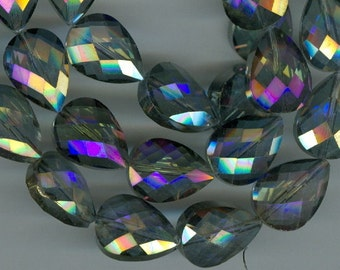 18x13mm Purple Blue Faceted Teardrop Crystal Beads Tear Drop Beads