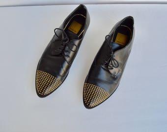 black oxfords gold studs shoes 6.5